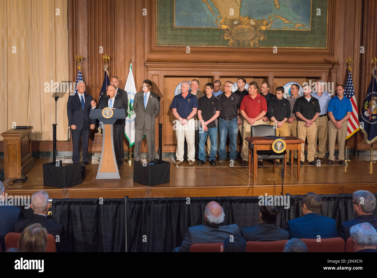 U.S. EPA Administrator Scott Pruitt Delivers Remarks Alongside Vice  President Mike Pence, Cabinet Members And Miners At A Signing Ceremony For  A Series Of ...