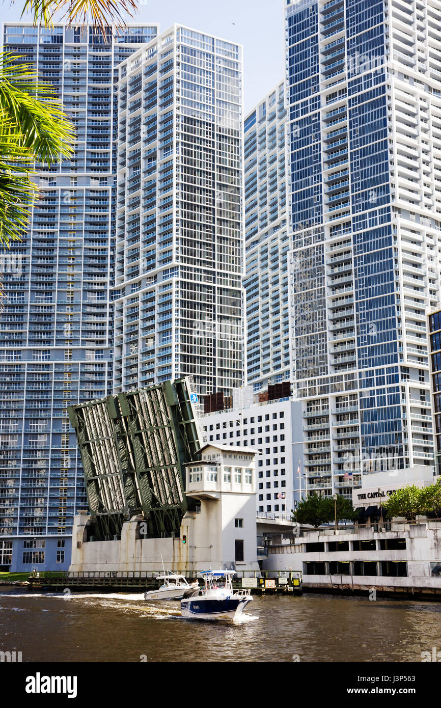 Modern Architecture Miami miami florida miami river brickell avenue bridge drawbridge boat