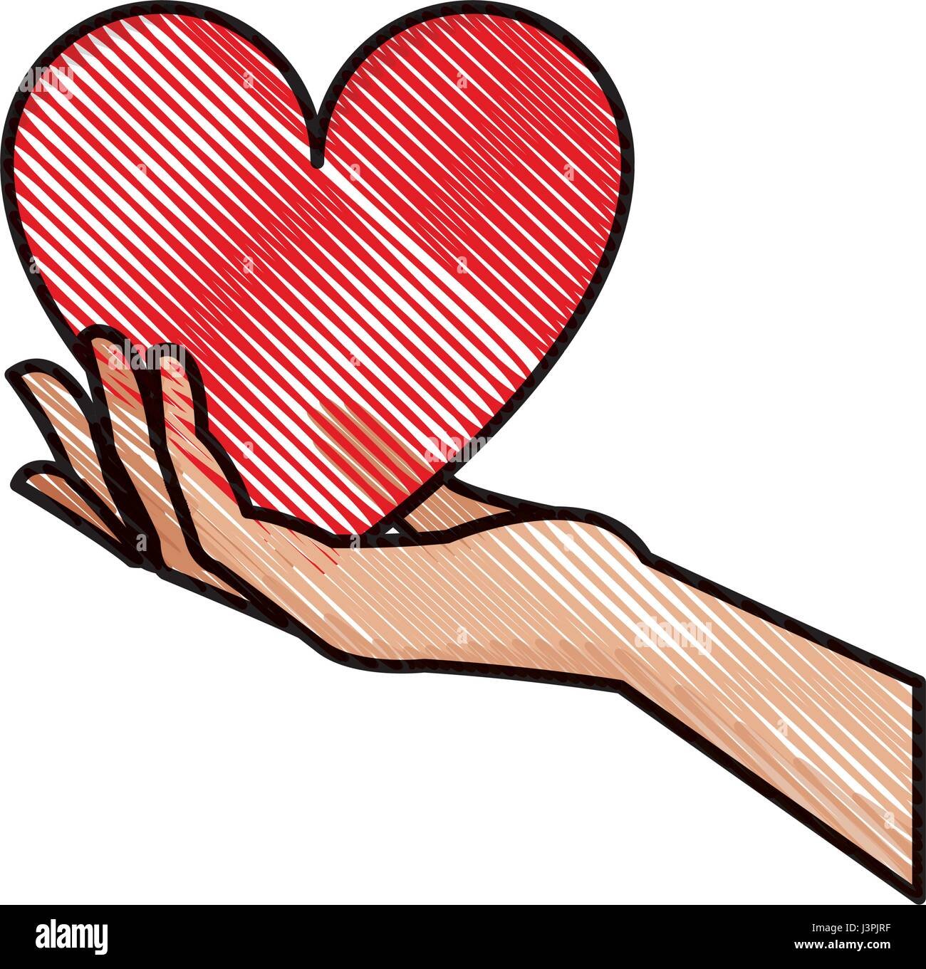 Drawing hand holding heart blood donation symbol stock vector art drawing hand holding heart blood donation symbol buycottarizona