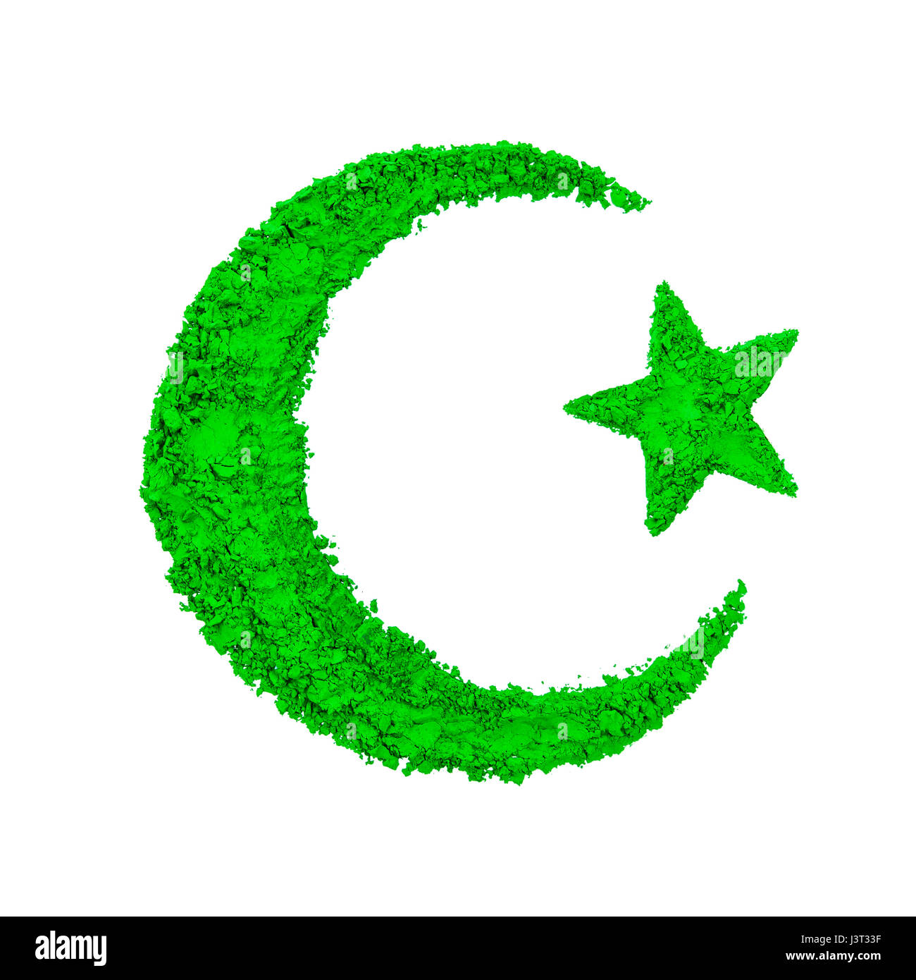 Crescent star symbol islam stock photos crescent star symbol crescent moon and star of islam made with green color powder isolated on a white biocorpaavc
