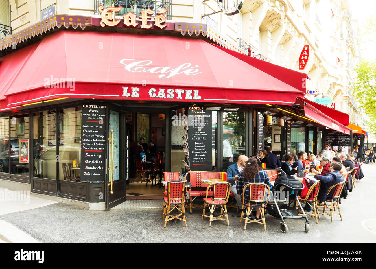 paris, france-april 02 ,2017 : the traditional parisian cafe le