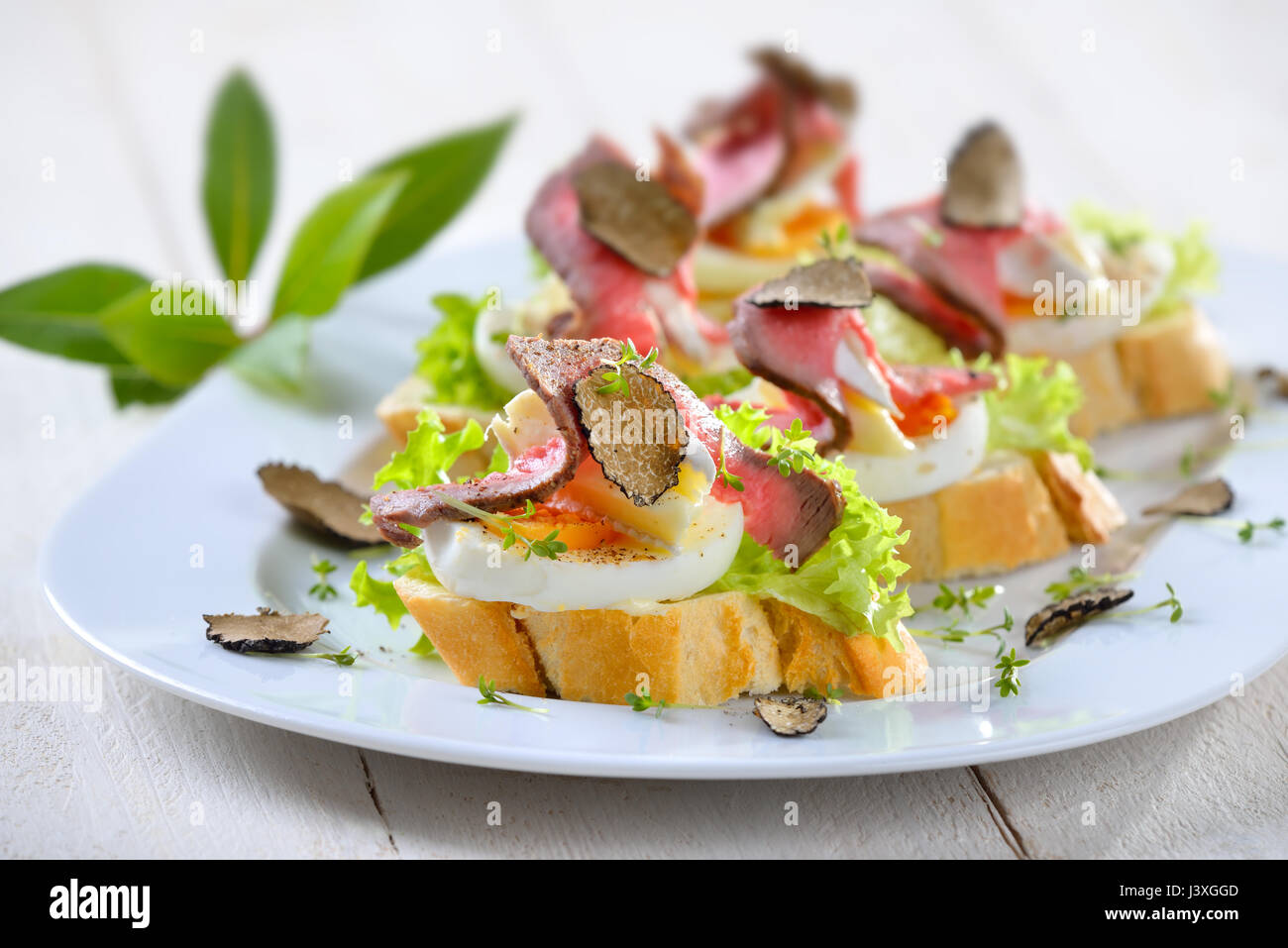 Canapes with roast beef black autumn truffles french for Roast beef canape