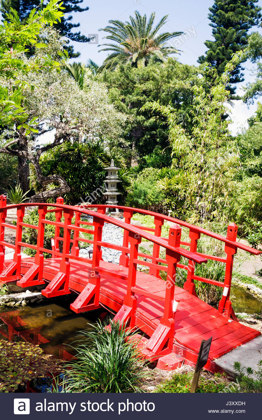 Miami Beach Miami Florida Beach Botanical Garden Gardening Plants  Horticulture Japanese Bridge Red Pagoda Trees Foliage