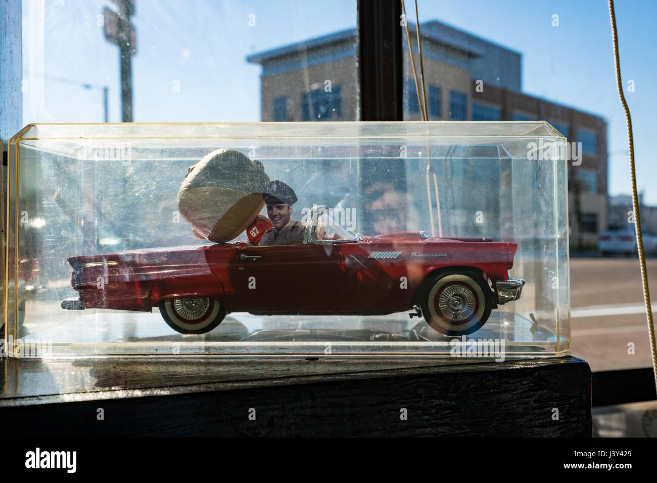 Memorabilia catches the sun in the window of Sun Studios Memphis ...