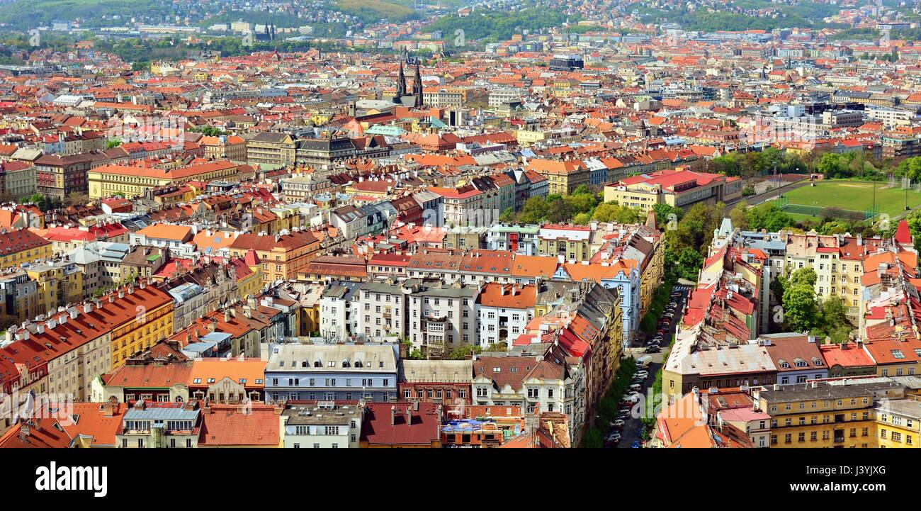Stock Photo   Top View Of The Red Roofs Of Prague Downtown
