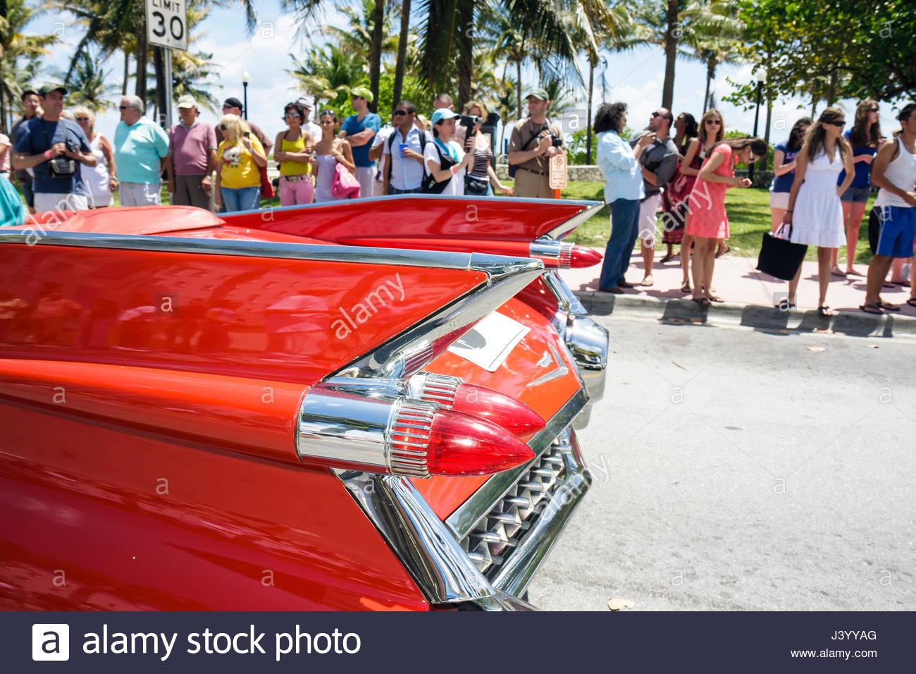 Miami Beach Florida South Beach Ocean Drive Cadillac Red Tail - Cadillac dealer miami