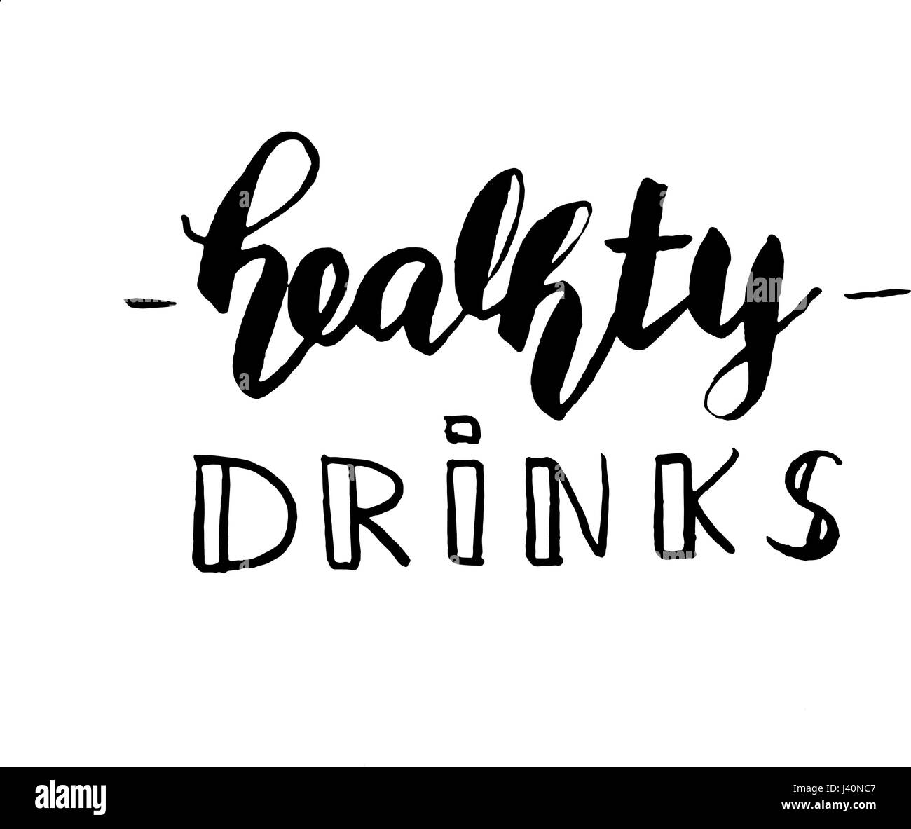 Healthy drinks lettering simple modern calligraphy cafe