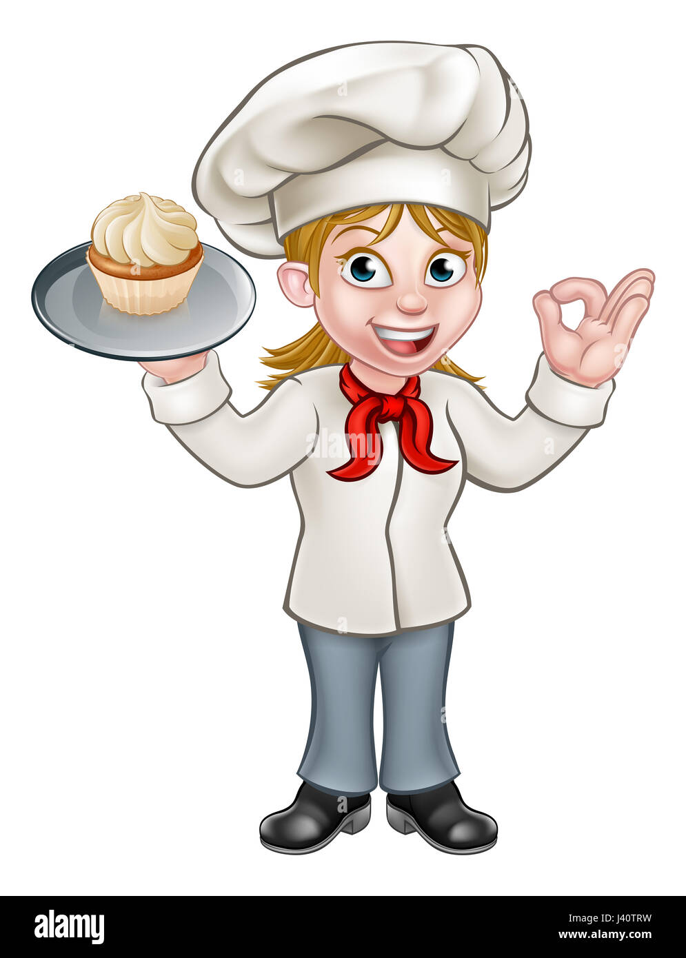 A cartoon woman pastry chef or baker character holding a ...