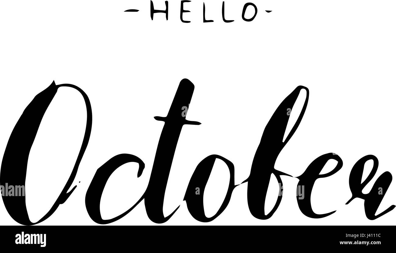 Hand Drawn Typography Lettering Phrase Hello October Stock Vector ...