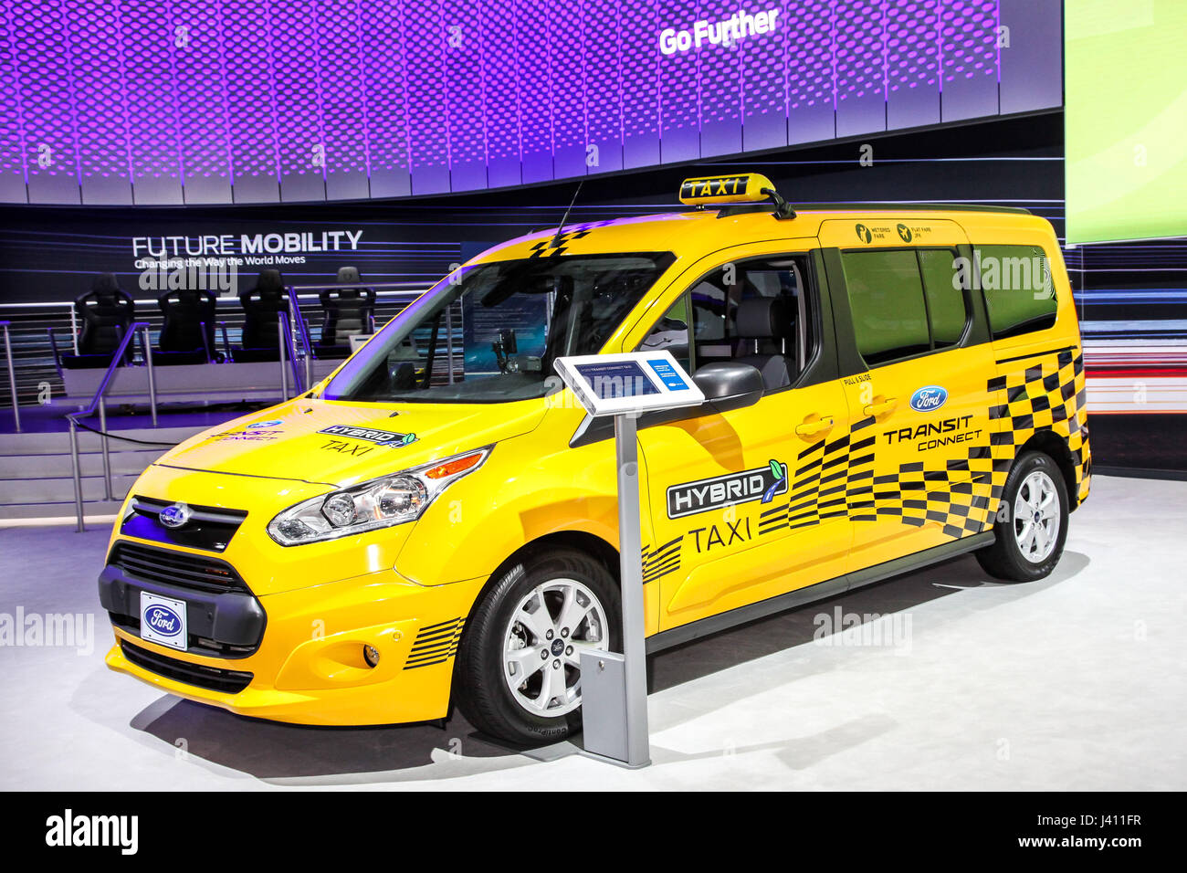Ford transit connect taxi shown at the new york international auto show 2017 at the