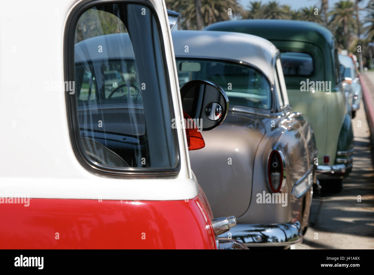 Vintage cars parked along a California street Stock Photo, Royalty ...