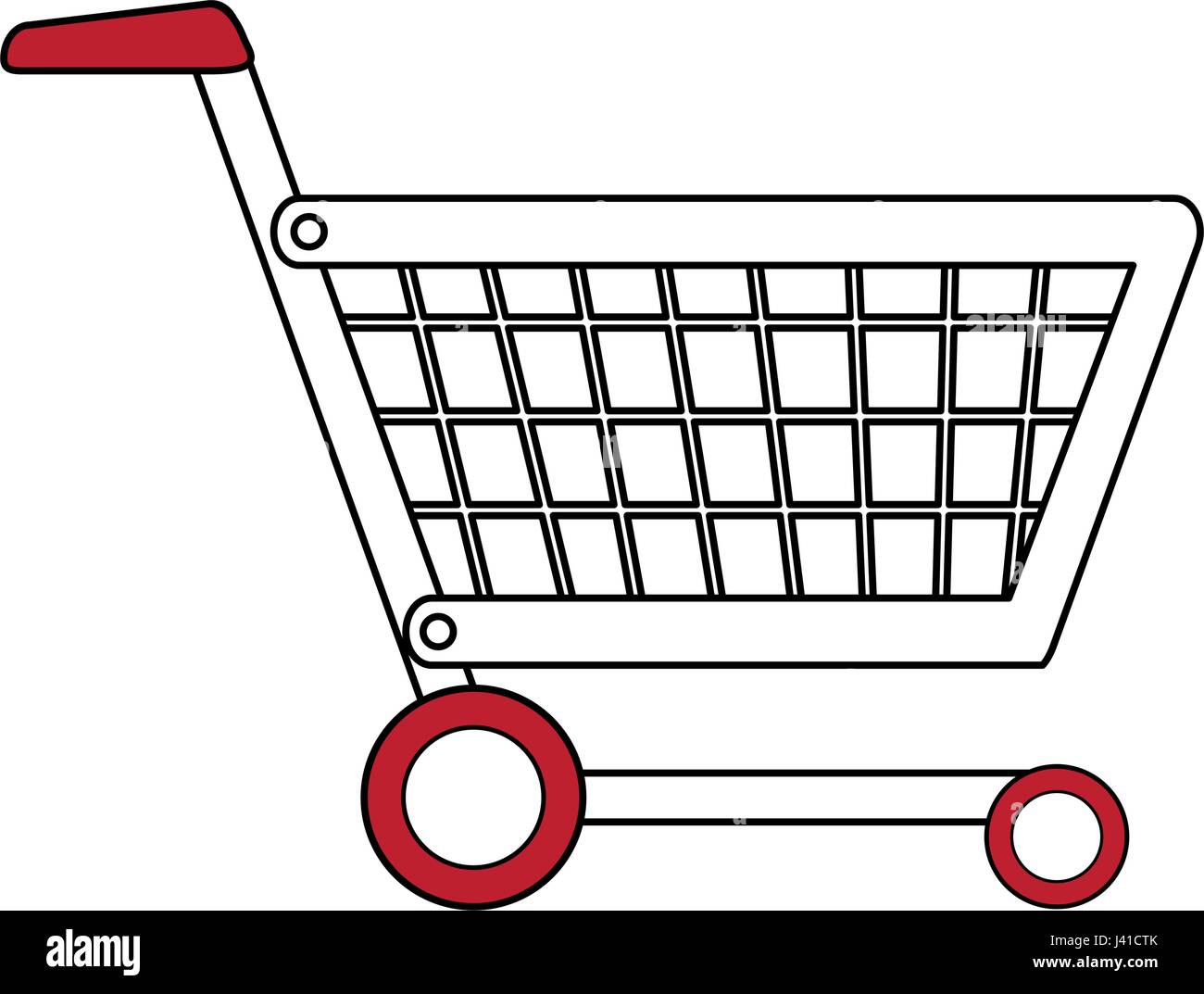 stock vector color silhouette cartoon shopping cart with wheels