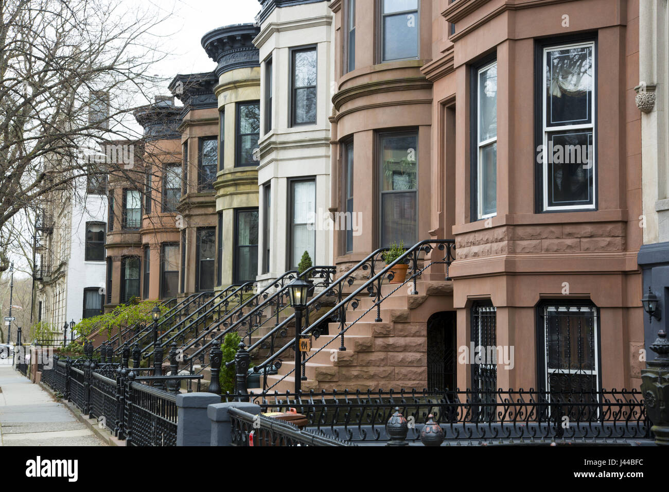 Brownstone homes and apartments in the landmark preservation Stock ...