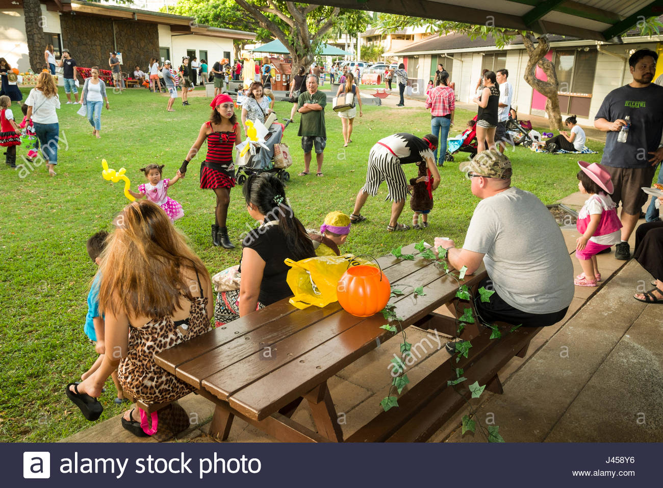 Children and parents at a preschool Halloween party, Waiokeola ...