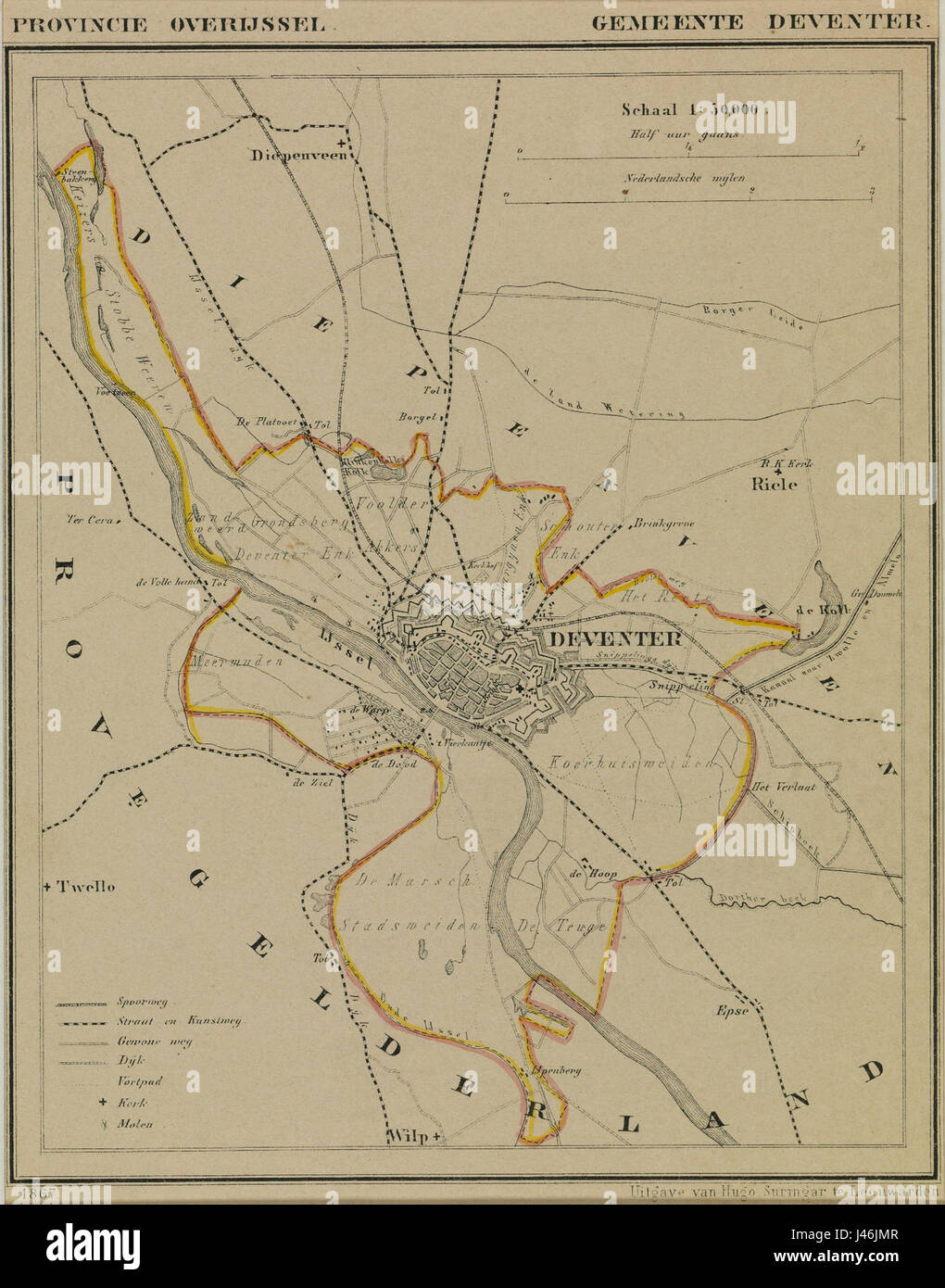 Netherlands Deventer map of 1867 Stock Photo Royalty Free Image