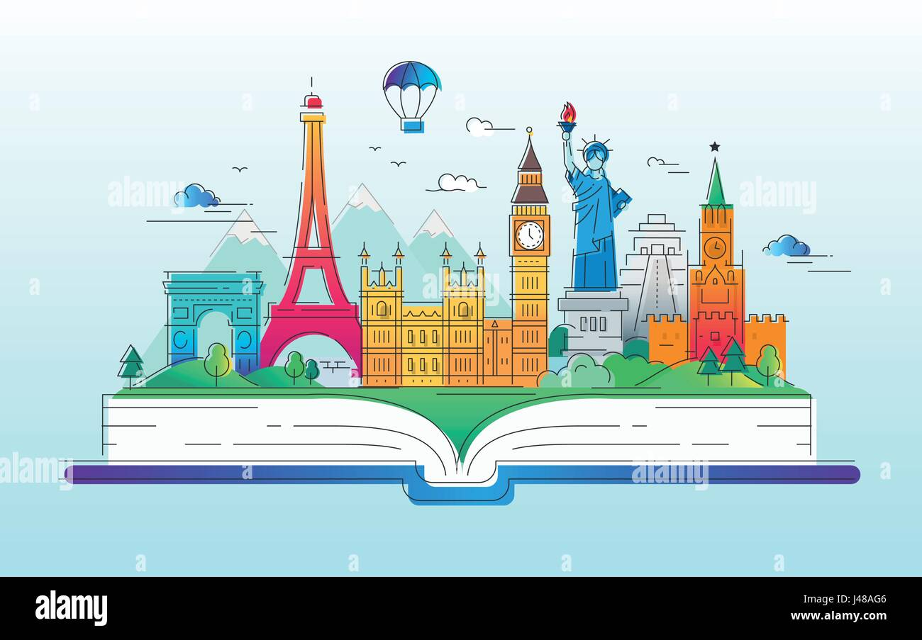 Around the world vector line travel illustration stock for Cruise around the world