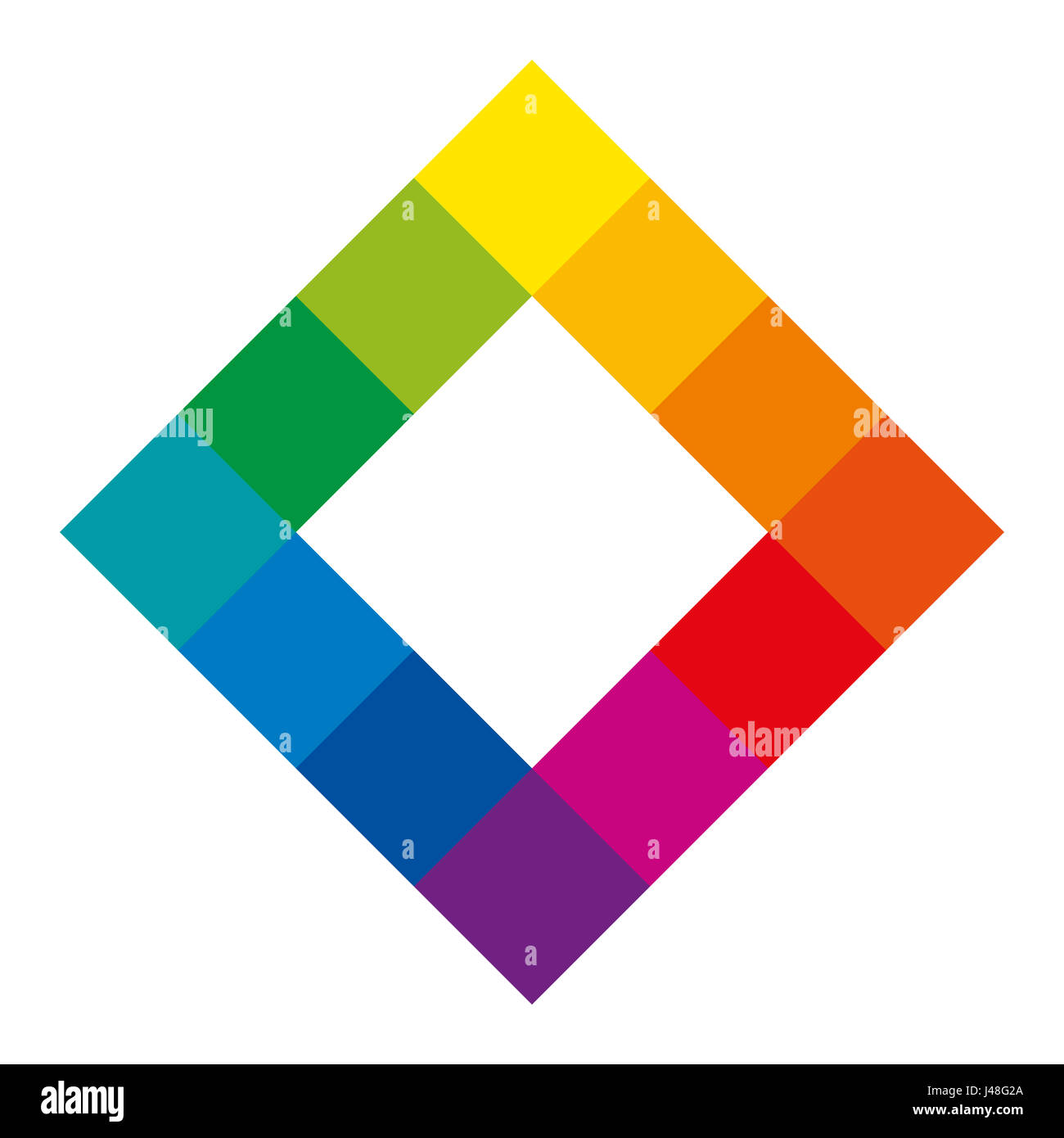 Twelve Unique Color Hues Of The Wheel In Square Shape Showing Relationship Between Primary