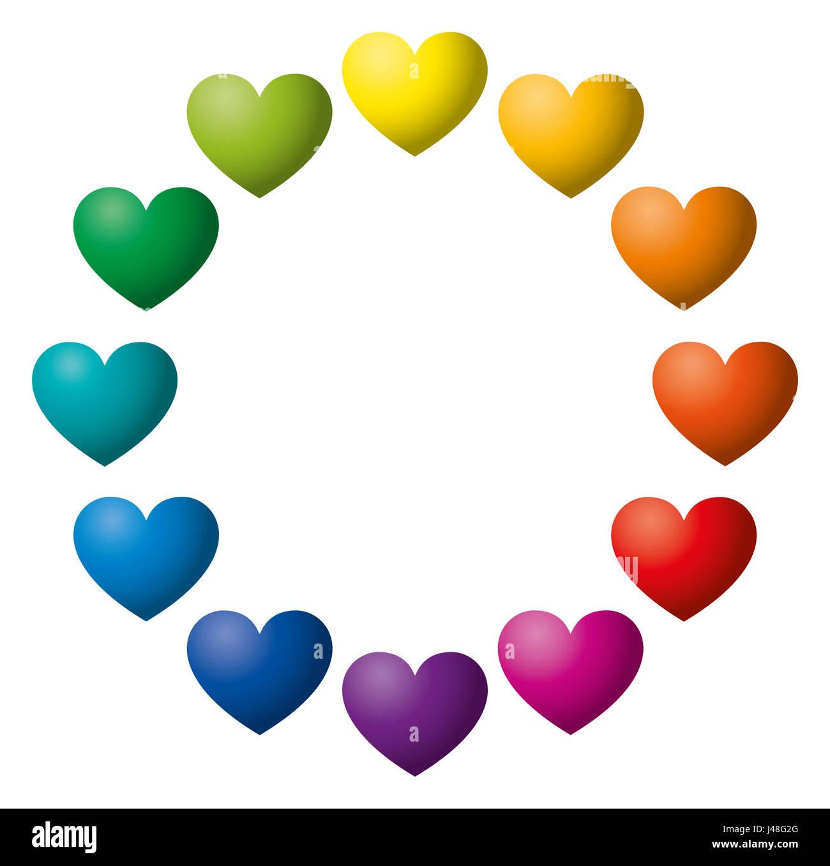 Twelve rainbow color hearts arranged in a circle heart symbols in twelve rainbow color hearts arranged in a circle heart symbols in twelve unique color hues buycottarizona