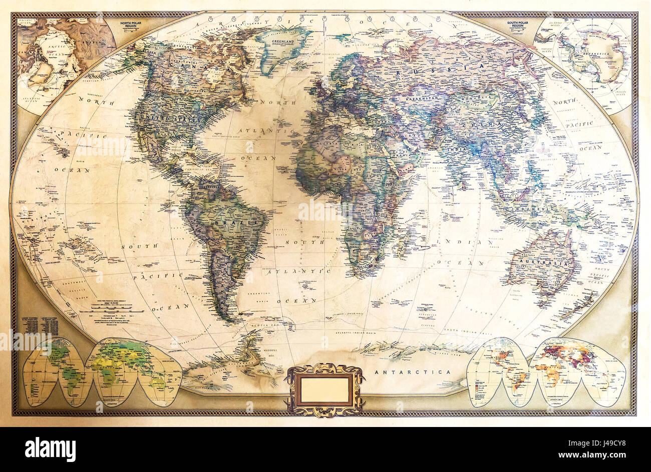 Worksheet. Detailed world map with two hemispheres which depicts the Stock