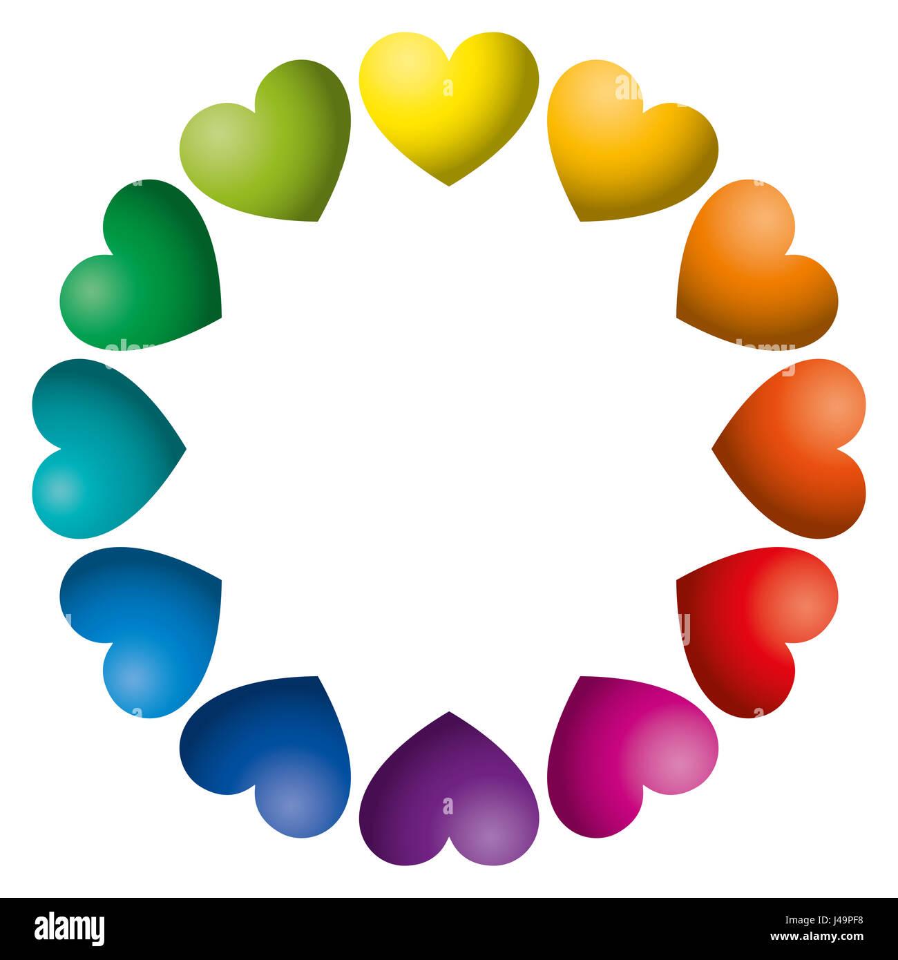 Rainbow color hearts arranged in a circle twelve heart symbols in rainbow color hearts arranged in a circle twelve heart symbols in unique color hues biocorpaavc