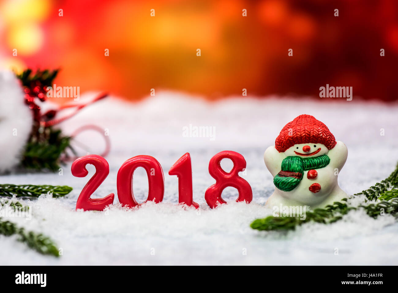 2018 Happy New Year decoration on snow Stock Photo, Royalty Free ...
