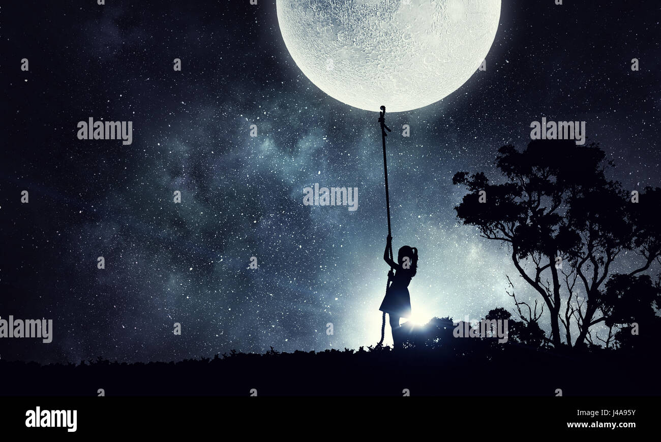 Kids at night with moon royalty free stock photography image - Kid Girl Catching Moon Sergey Nivens Alamy Stock Photo