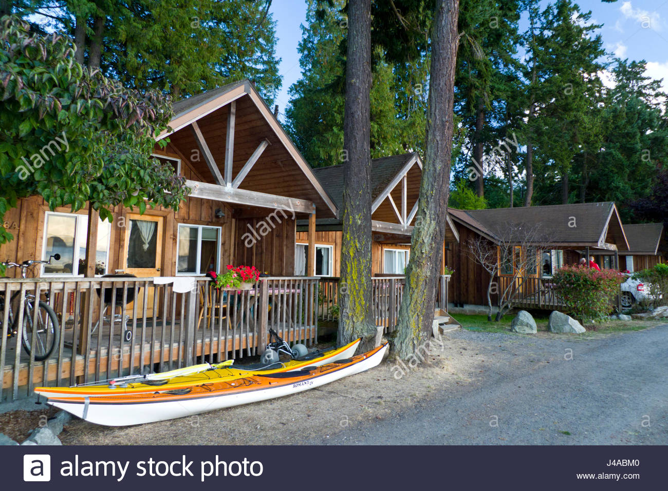 Vacation Cabins Along Kimple Beach At The West Beach Resort, Orcas Island,  San Juan County, Washington, USA