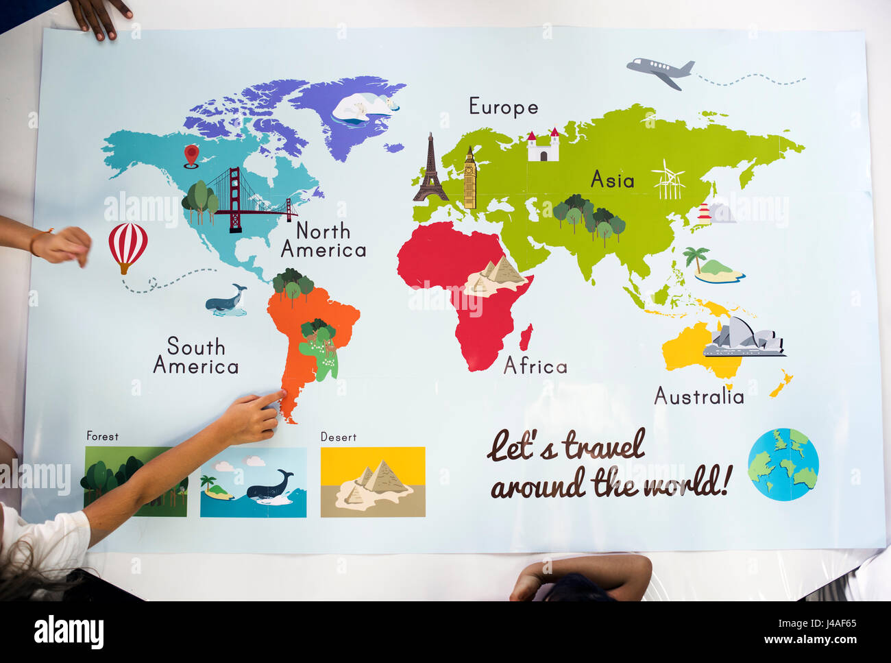 Map Showing World Continents Countries Ocean Geography Stock Photo - Map showing continents and oceans