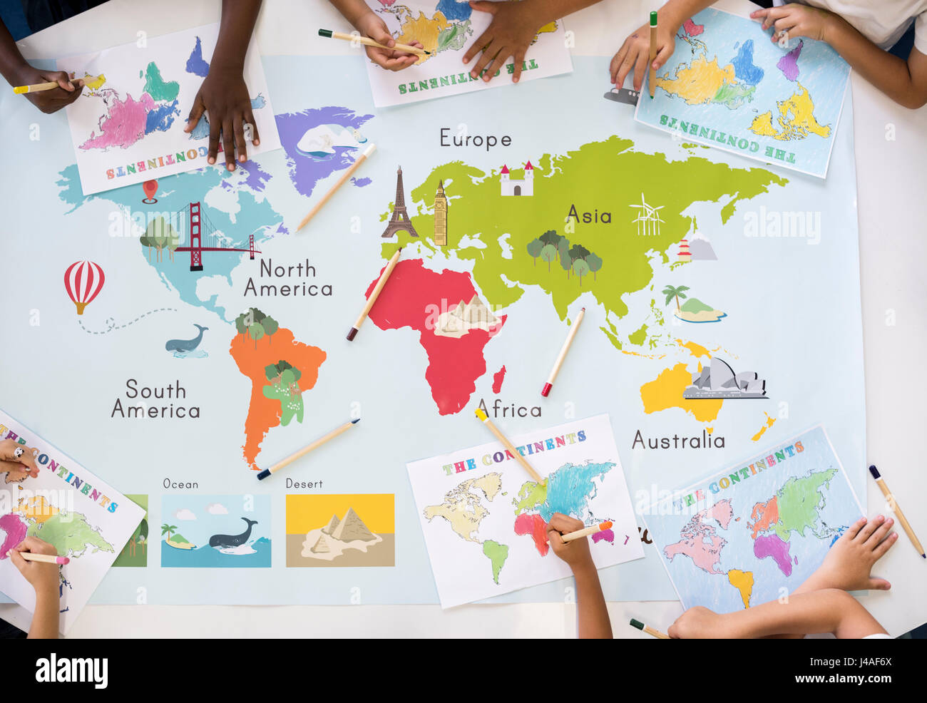 Kids learning world map with continents countries ocean geography kids learning world map with continents countries ocean geography stock photo gumiabroncs Gallery