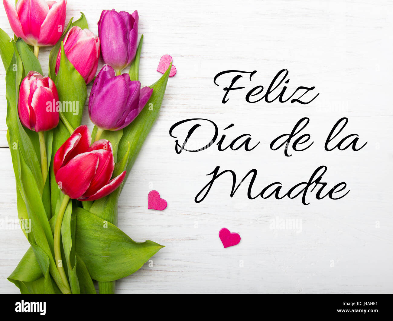 Mothers day card with spanish words happy mothers day and mothers day card with spanish words happy mothers day and tulip flowers frame on white wooden background kristyandbryce Image collections