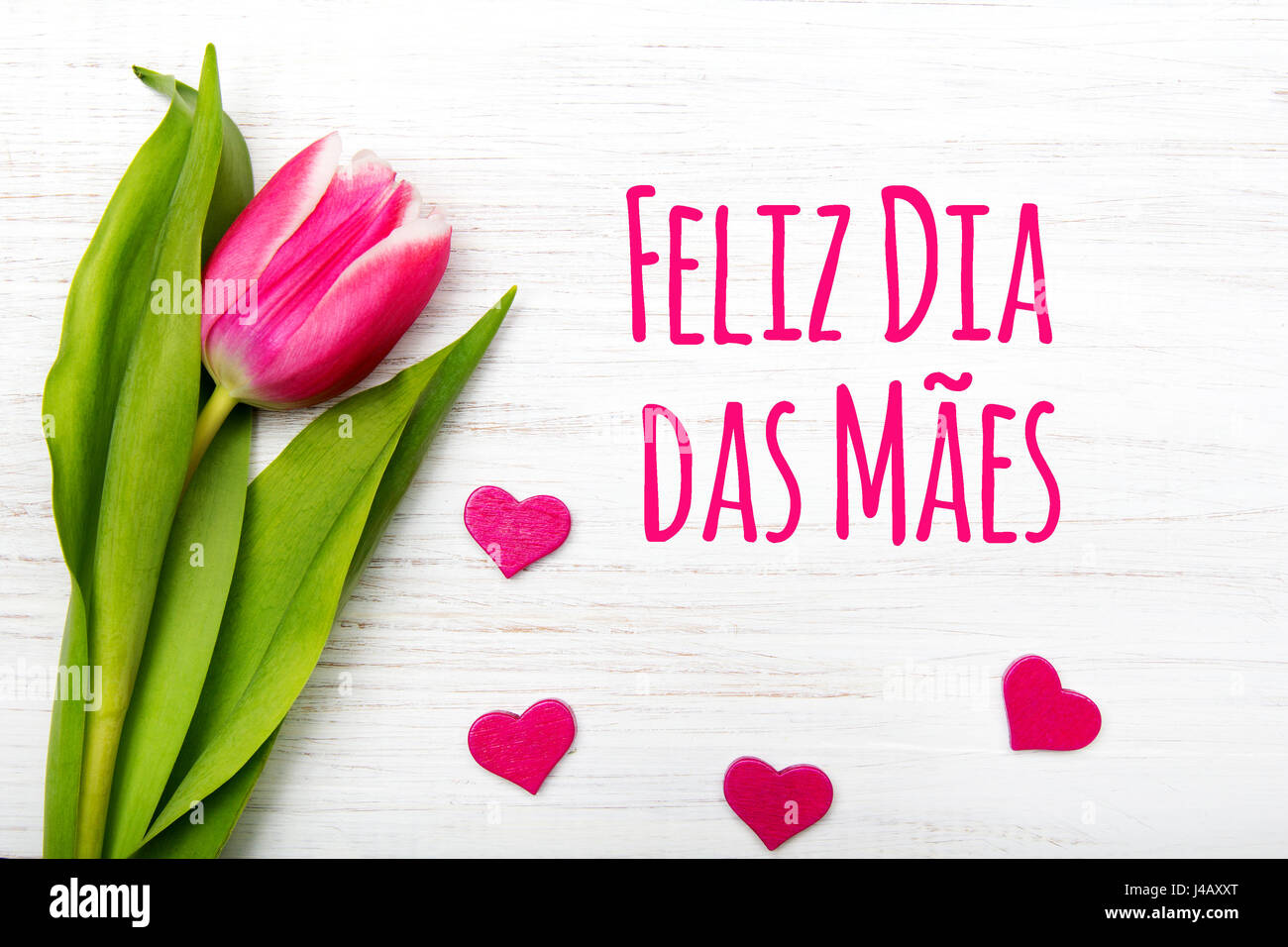 Mothers day card with portuguese words happy mothers day and mothers day card with portuguese words happy mothers day and pink tulip on white wooden background kristyandbryce Choice Image