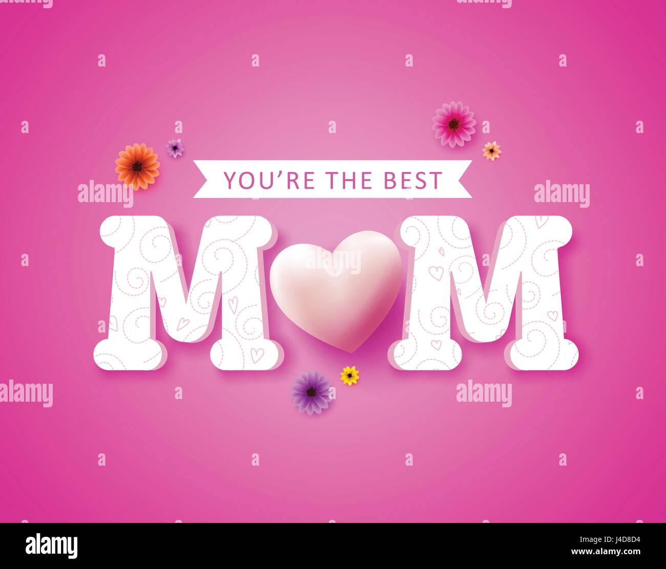 Youre the best mom text greetings card vector design and heart youre the best mom text greetings card vector design and heart shape for happy mothers day celebration in pink background vector illustration kristyandbryce Choice Image