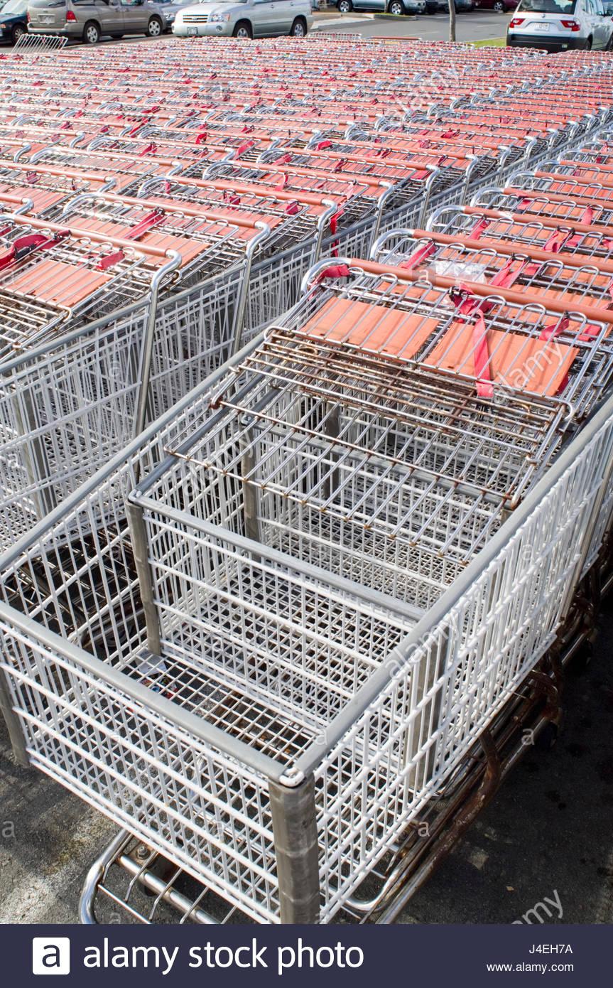 Many Shopping Carts Outside Of Costco Wholesale Warehouses, Hawaii Kai,  Oahu, Hawaii, USA