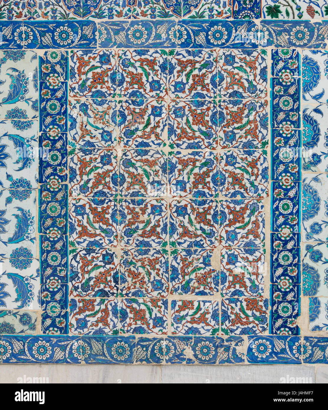 Old ceramic wall tiles with floral blue pattern in an exterior old ceramic wall tiles with floral blue pattern in an exterior wall of the historic eyup sultan mosque situated in the eyup district istanbul turkey doublecrazyfo Image collections