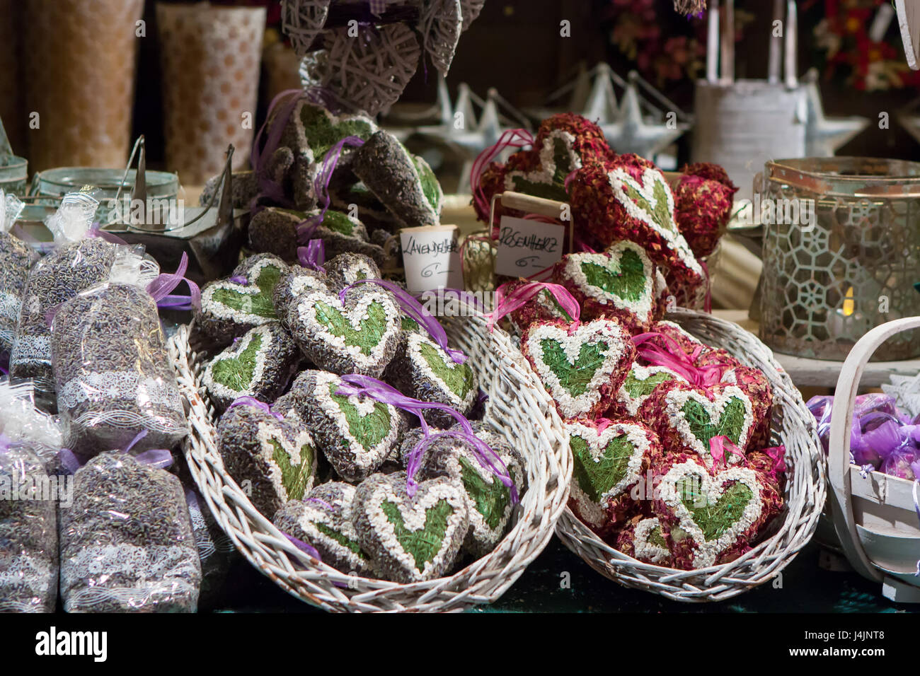 Lavender christmas ornaments - Stuttgart Germany December 3 2016 Heart Shaped Christmas Ornaments Filled With Lavender And Rose Petals In A Kiosk At Christmas Market Weihnacht