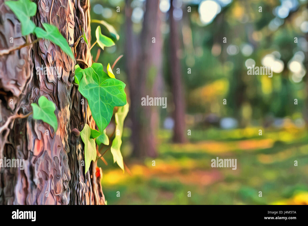 Colorful painting of old tree bark texture with green plant Stock ...