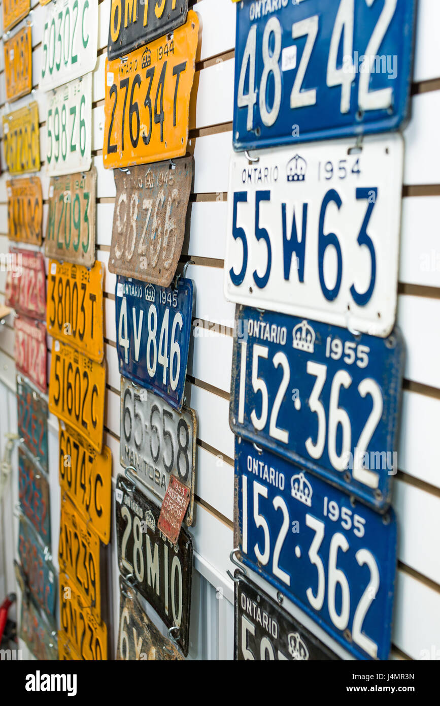 Old Canadian Vehicle Registration Plates Displayed On Wall Stock ...