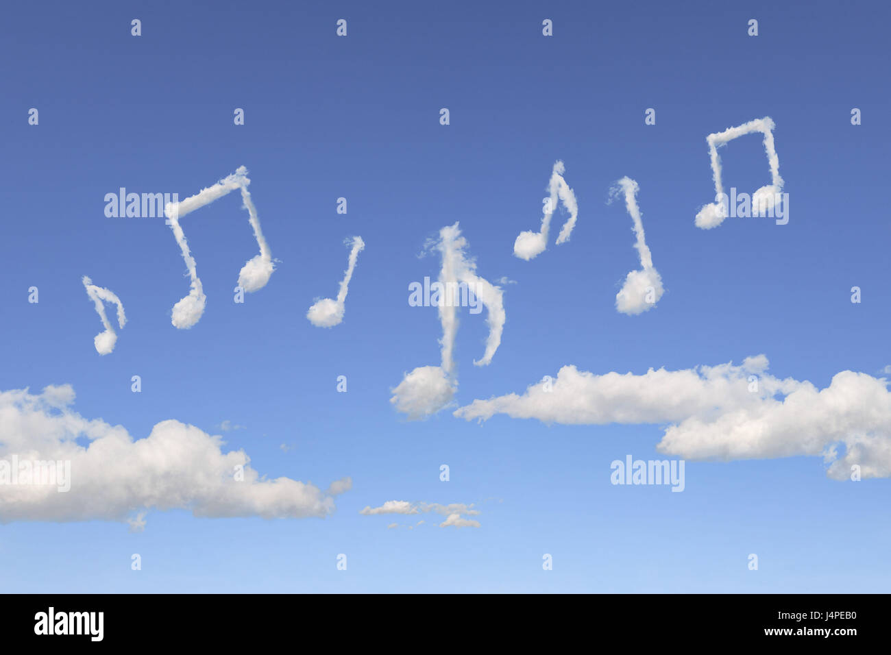 Heaven Blue Cloud Formation Musical Notes Icon