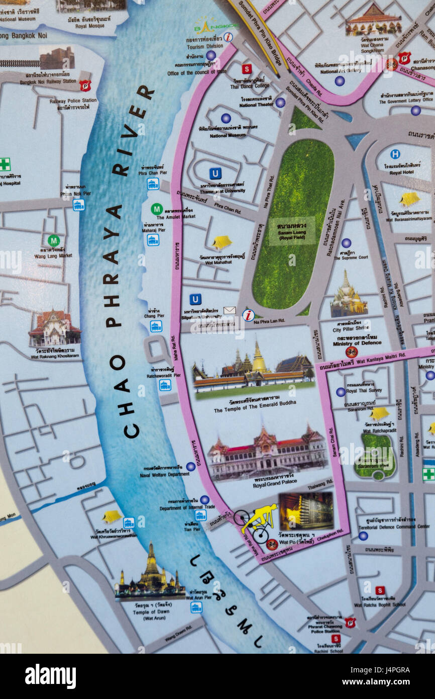 Thailand Bangkok road map illustration place of interest Stock