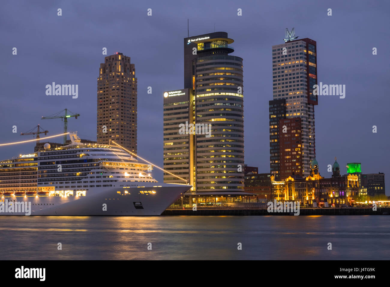 Modern Architecture Netherlands msc prezoisa cruise ship and high rise modern architecture stock