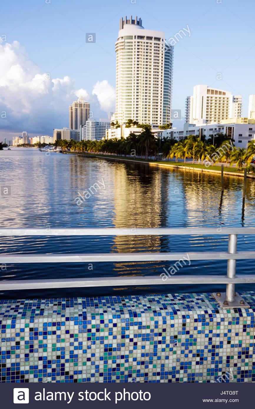 Miami Beach Florida Collins Avenue Indian Creek 41st Street Bridge