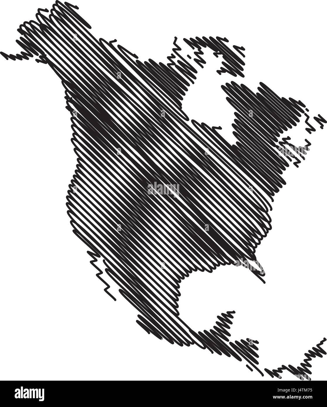 North America map vector illustration scribble sketch North
