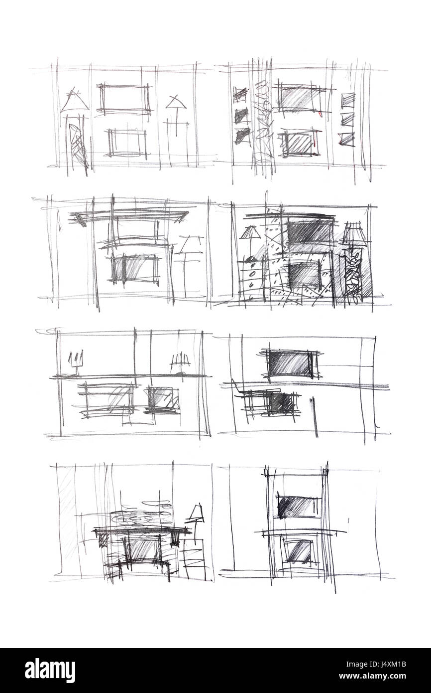 Stock Photo Rough Sketches Of Living Room Interiors And Furniture Blueprints As Different Variants For Modern Interior