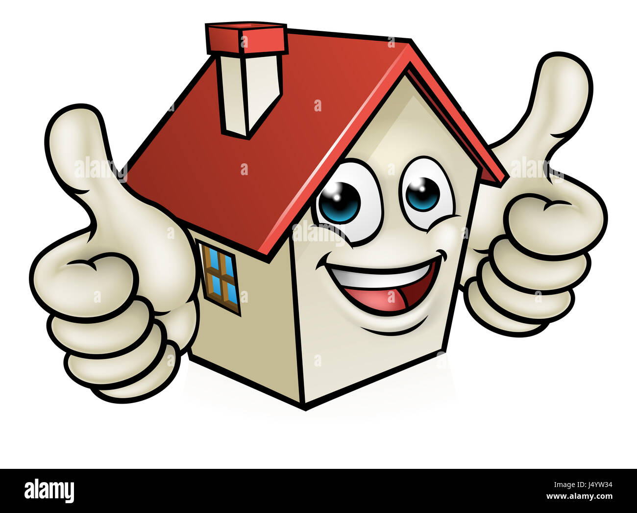 Cartoon Characters Houses : A house cartoon mascot character giving double thumbs up