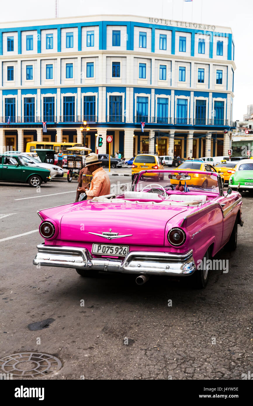 Ford Fairlane Automobile Model In Cuba Cuban Car Havana Pink Cabriolet Front Of Hotel Telegrafo Cars Classic