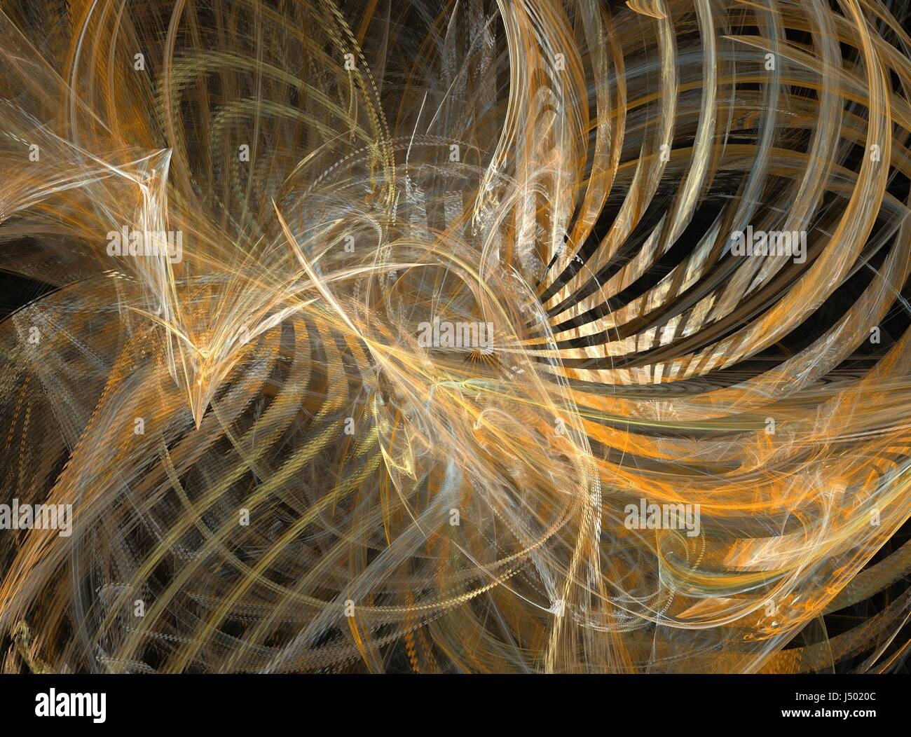Curved Lines In Art : D rendering with golden abstract fractal curved lines and