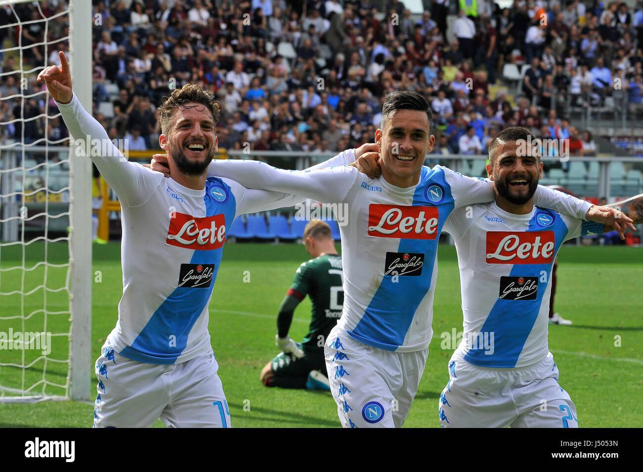 Turin Italy 14th May 2017 Lorenzo Insigne Mertens Jose Maria