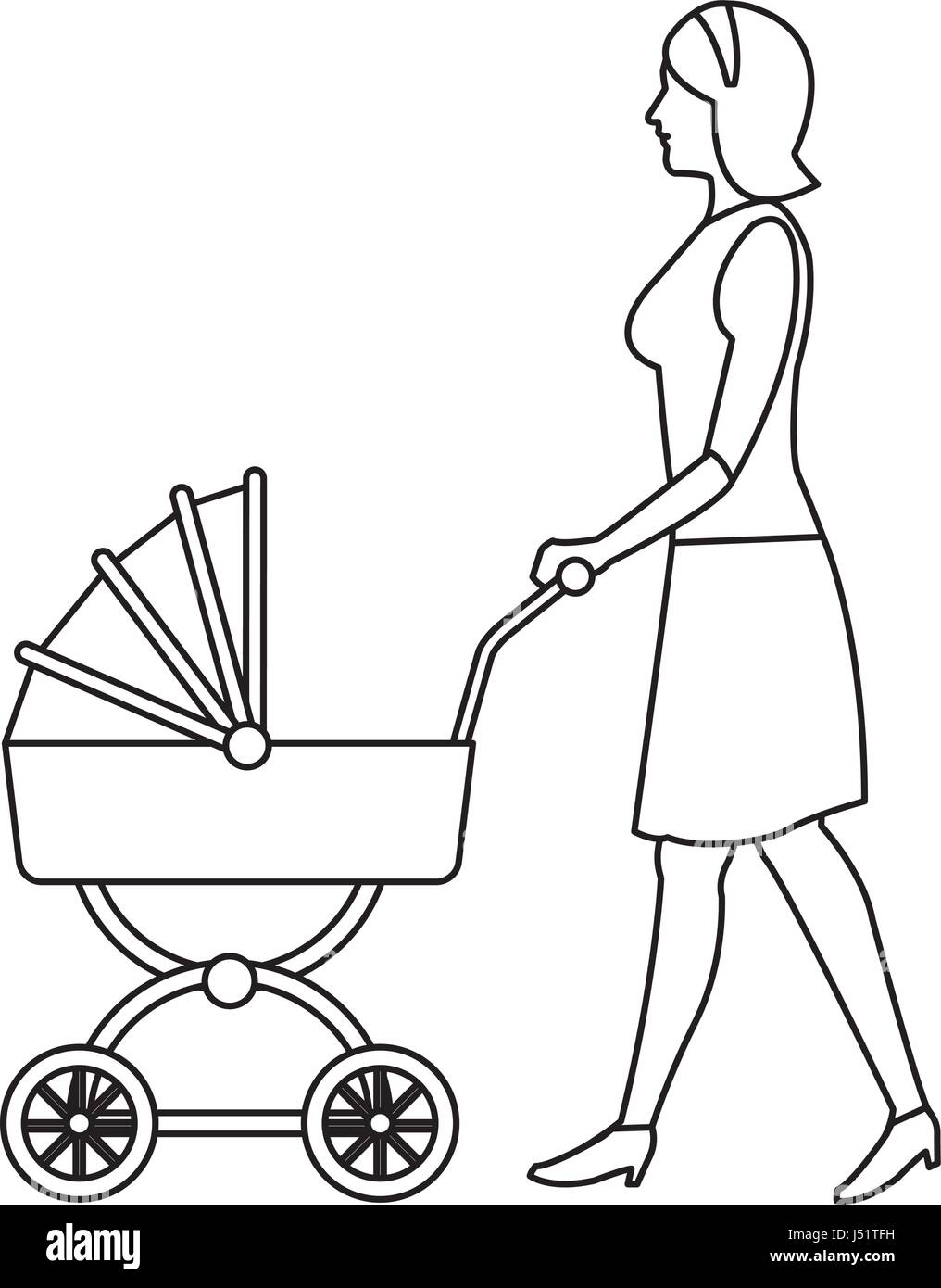mother pushing pink baby carriage outline Stock Vector Art