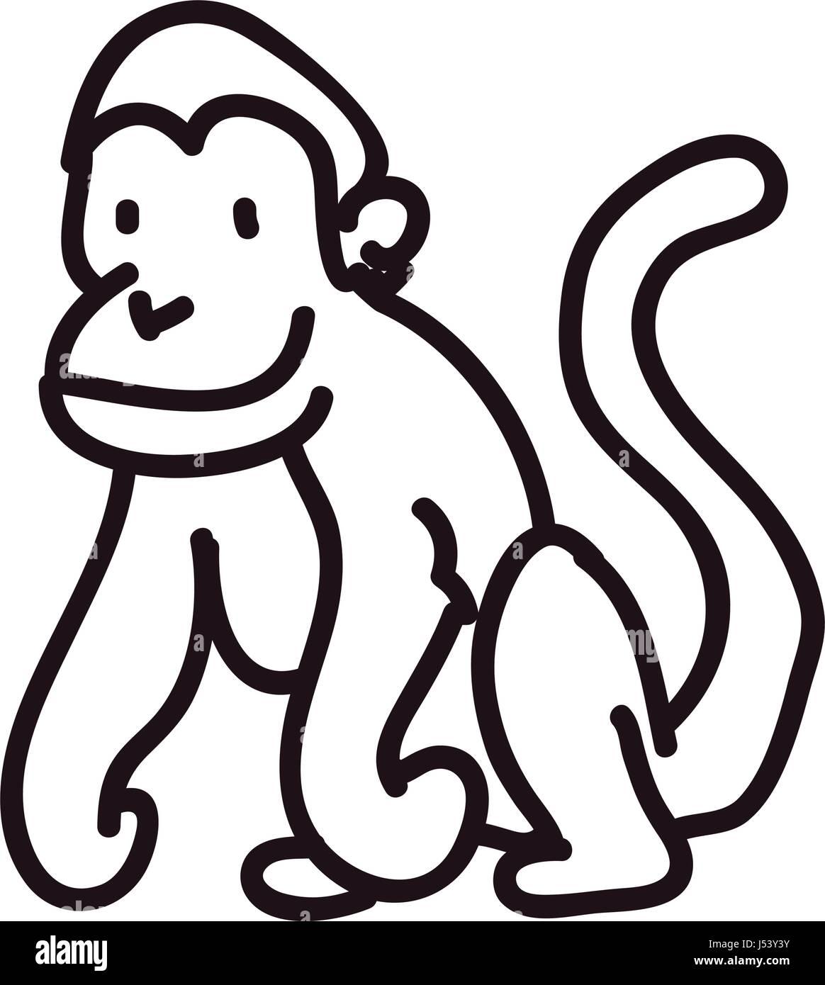 monkey doodle animal Stock Vector Art  for Line Drawing Monkey  8lpfiz