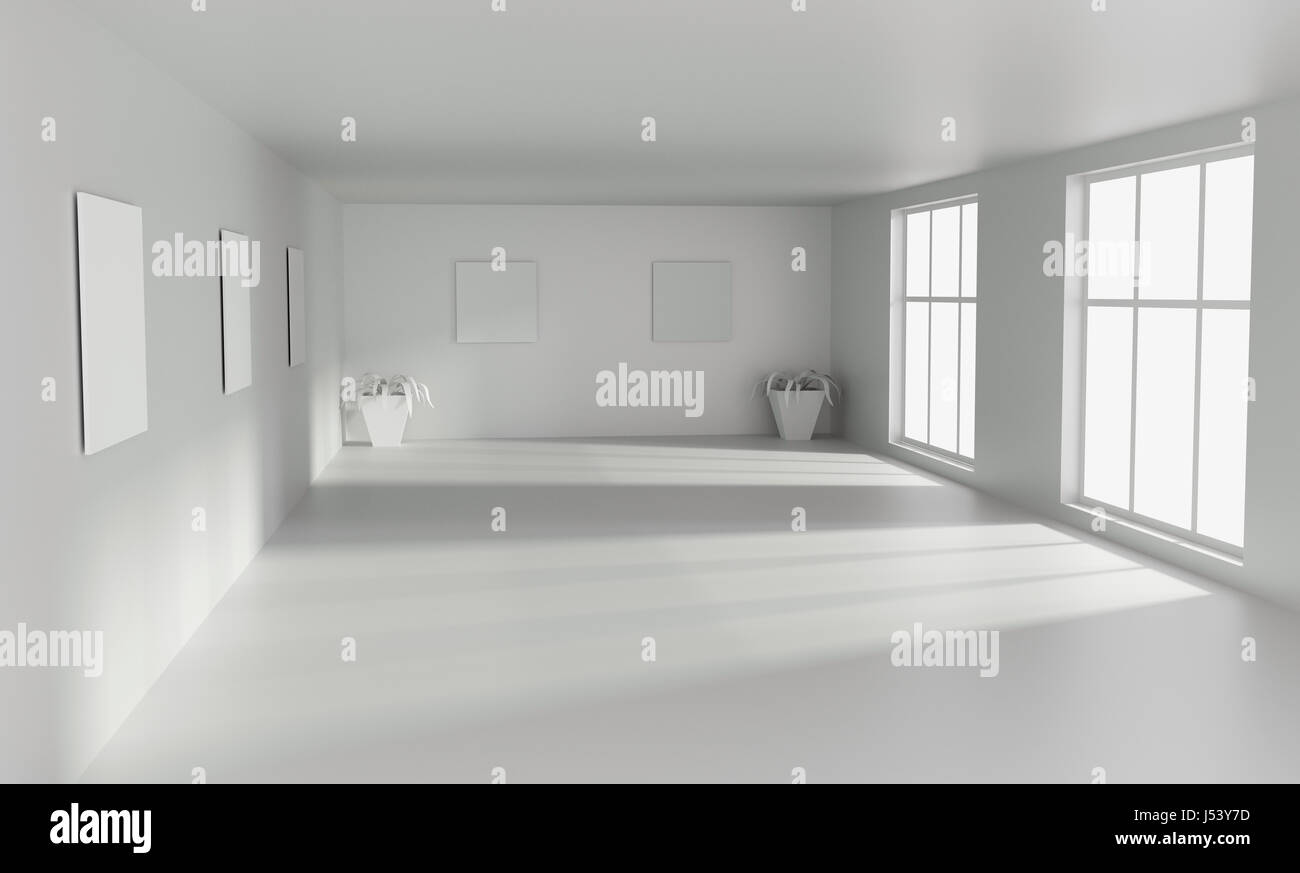 Concrete Floor Apartment Big Modern Empty White Room With With Big Windows 3d